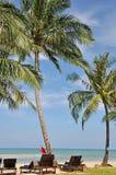 与游泳禁止的红旗的松弛海滩 库存照片
