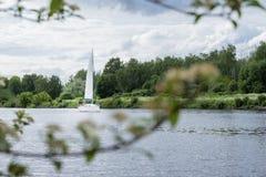 与游艇的夏天风景在湖背景,在岸对面 Summer湖 季节,生态,自然秀丽  库存照片