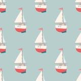 与游艇的好的无缝的样式 船舶元素 减速火箭的玩具 夏天旅行设计-帆船 也corel凹道例证向量 库存照片