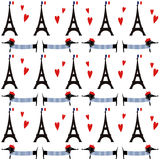 与游览埃菲尔无缝的样式的法国样式狗 逗人喜爱的与巴黎标志例证的动画片巴黎人达克斯猎犬 免版税库存图片