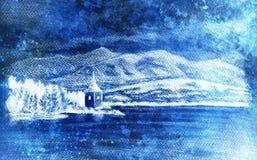 与湖、教堂和山,铅笔图,不可思议的颜色作用的Landcsape风景 库存图片