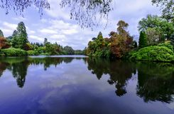 与湖和树- Uckfield的英国秋天,东萨塞克斯郡,英国 免版税库存图片