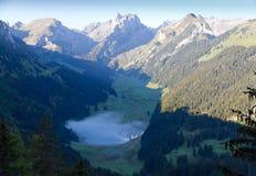与湖和薄雾,瑞士的深绿谷 免版税库存图片