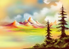 与湖的圣诞树和小山绘了风景 免版税库存照片