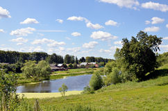 与湖的夏天风景在俄罗斯 库存照片
