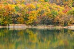 与湖的秋季风景 库存图片