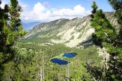 与湖的美丽如画的自然风景 库存图片