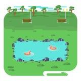 与湖的风景在公园 库存例证