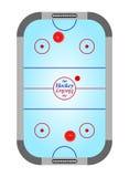 与溜冰场的蓝色桌空气与小门蓝色曲棍球表面上黑柜台和红色和蓝线的曲棍球和灰色在a 免版税图库摄影