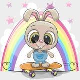 与滑板的逗人喜爱的动画片兔子 向量例证