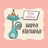 与滑稽的乱画猫的生日快乐卡片 库存例证