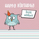 与滑稽的乱画鸟的生日快乐卡片 向量例证