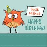 与滑稽的乱画鸟的生日快乐卡片 皇族释放例证