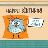 与滑稽的乱画鸟的生日快乐卡片 库存例证