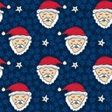 与滑稽的圣诞老人的新年样式 圣诞节包装纸 背景明亮无缝 库存照片
