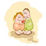 与滑稽的夫妇的华伦泰背景在爱。 向量例证