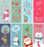 与滑稽的字符的圣诞节横幅 库存图片