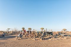 与滑稽的显示的日出视图在Garas公园休宿所 免版税库存照片