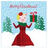 与滑稽的猪和圣诞节礼物的圣诞节例证 皇族释放例证