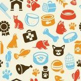 与滑稽的猫和狗图标的模式 免版税库存照片