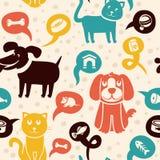 与滑稽的猫和狗的无缝的模式 免版税库存图片