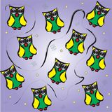 与滑稽的猫头鹰的样式 库存图片