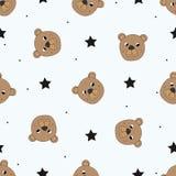 与滑稽的玩具熊的逗人喜爱的无缝的样式 库存例证