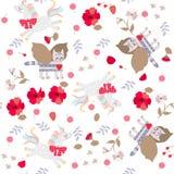 与滑稽的童话独角兽、飞过的猫和莓果,花,在白色背景隔绝的叶子的无缝的样式 库存例证