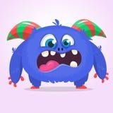 与滑稽的表示的逗人喜爱的蓝色妖怪动画片 万圣夜肥胖毛茸的拖钓或gremlin妖怪的传染媒介例证 皇族释放例证