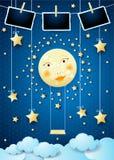 与满月、摇摆和相框的超现实的夜 库存例证