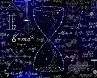 与滴漏的传染媒介无缝的样式由星和手写的算术惯例做成在满天星斗的空间背景 皇族释放例证