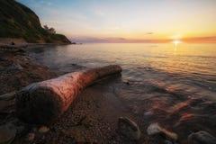 与漂流木头、海和日落天空的美好的风景 Composit 图库摄影