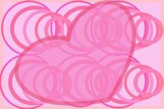 与漩涡圈子减速火箭的例证的塑料桃红色心脏 免版税库存图片