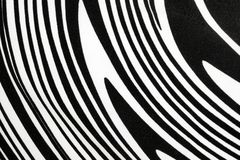 与漩涡或斑马样式的黑白织品 库存图片