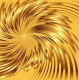 与漩涡的抽象金黄金属背景 免版税图库摄影
