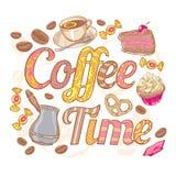 与漩涡fo的咖啡时间五颜六色的邀请卡片 免版税库存图片