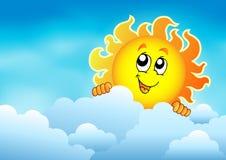 与潜伏的太阳2的多云天空 库存图片
