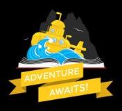 与潜水艇的科学幻想小说书 库存图片