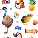 与澳大利亚动物,果子,旗子,照相机的旅行水彩无缝的样式 向量例证