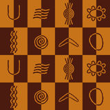 与澳大利亚原史艺术的标志的无缝的背景 库存图片