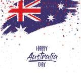 与澳大利亚旗子刷子的愉快的澳大利亚天海报抚摸在白色背景的上部边缘 皇族释放例证