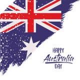 与澳大利亚旗子对角刷子冲程的愉快的澳大利亚天海报在白色背景 皇族释放例证
