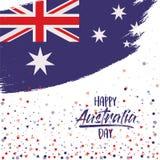 与澳大利亚旗子的愉快的澳大利亚天海报在刷子抚摸在白色背景的长圆形与五彩纸屑 向量例证