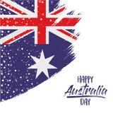与澳大利亚旗子的愉快的澳大利亚天海报在白色背景的刷子冲程与星和五彩纸屑 皇族释放例证