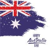 与澳大利亚旗子的愉快的澳大利亚天海报在白色背景的刷子冲程与星 皇族释放例证