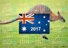 与澳大利亚旗子的日历 免版税库存照片