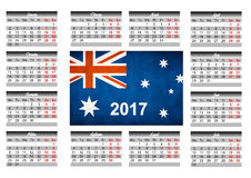 与澳大利亚旗子的日历 图库摄影