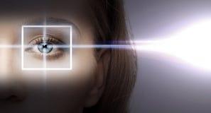 与激光更正框架的妇女眼睛 图库摄影