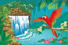 与瀑布和红色鹦鹉的热带风景 免版税库存图片