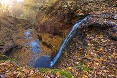 与瀑布的一个不可思议的风景在秋天森林& x28里; harmo 库存照片